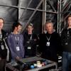 Vieilles Charrues 2009/07: Olivier Arnaud assistant régie retours, Eric Fromentin ingé son retours, Anthony Trégoat patcheur, Thierry Tanguy DG d'Audiolite et Sylvain Turpin assistant système façade & plus.