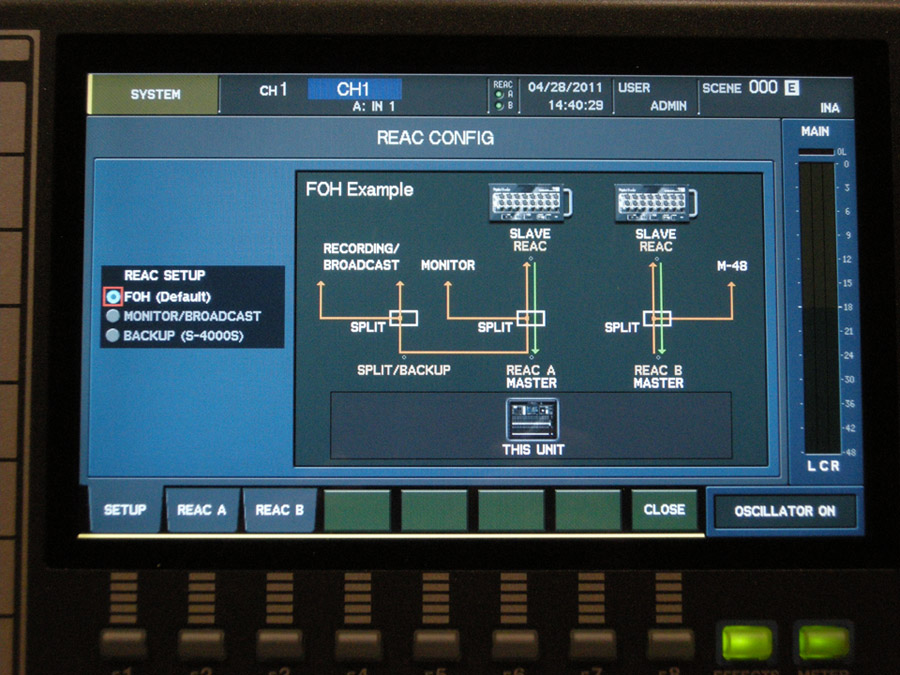 A REAC network is configured remotely via the M-480 console.